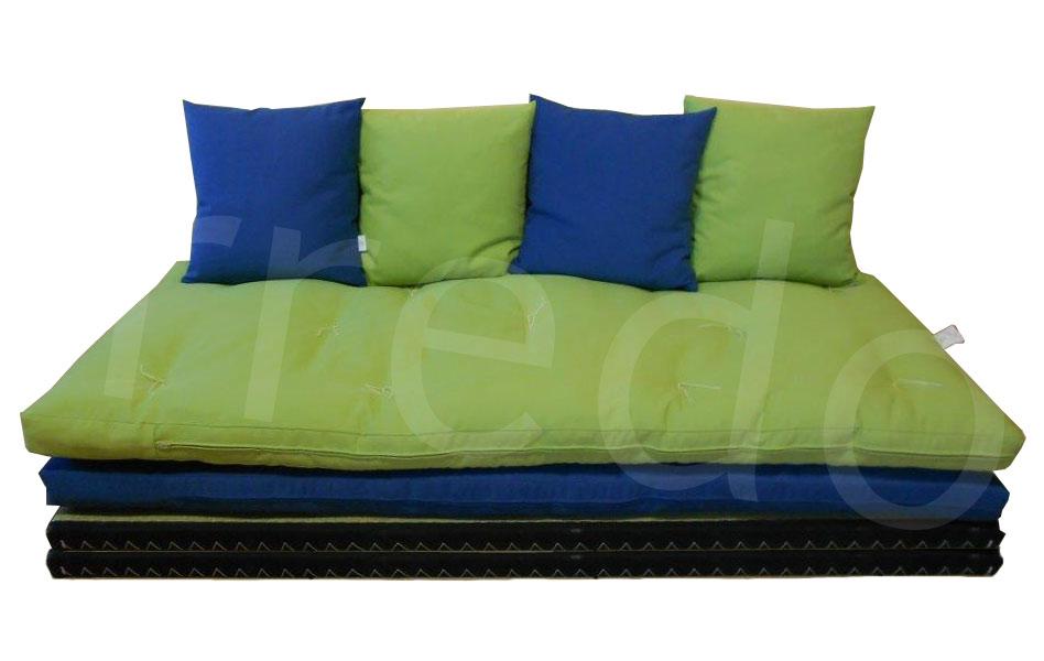 Divano letto futon pacha matrimoniale cotone manopesca for Divano letto futon