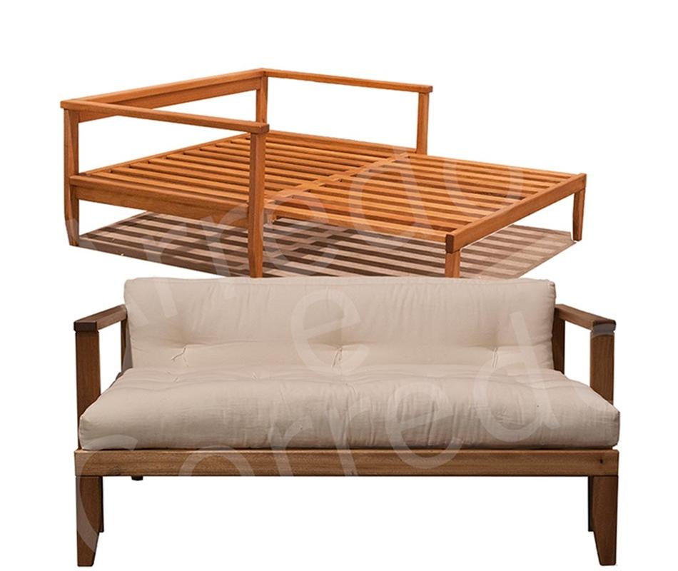 Divano letto in legno scivolo con futon arredo e corredo - Letto a divano ...
