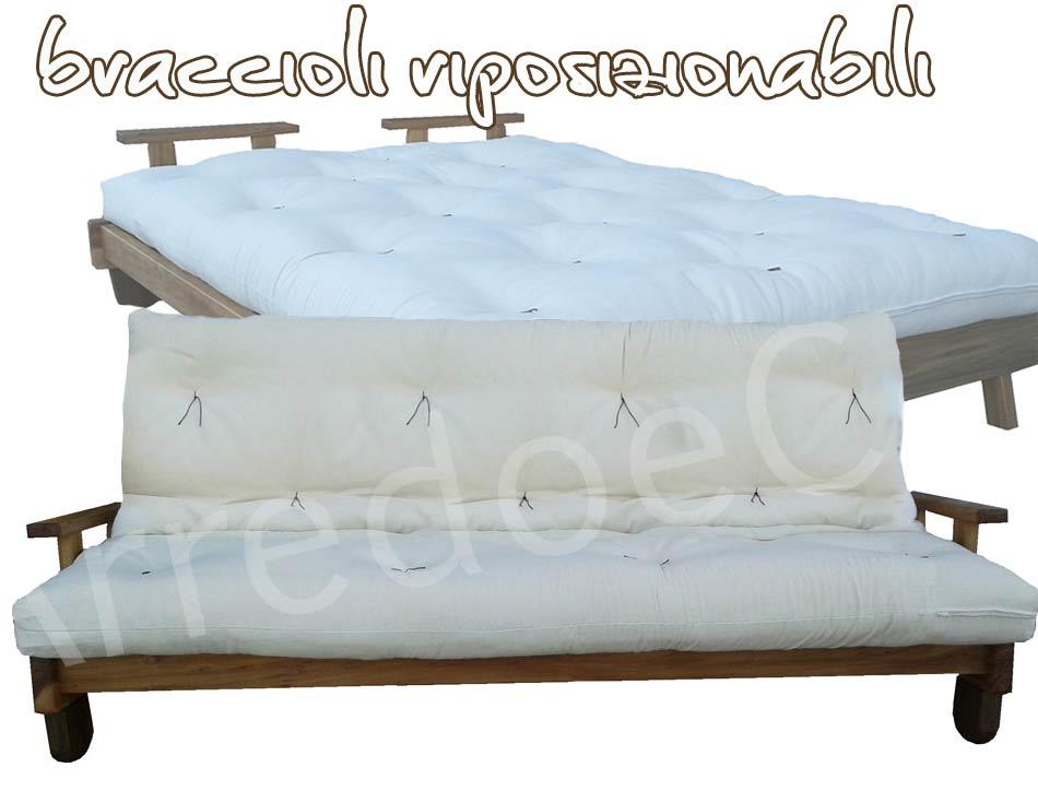 Letto Futon Matrimoniale : Divano letto in legno con futon nature matrimoniale arredo e