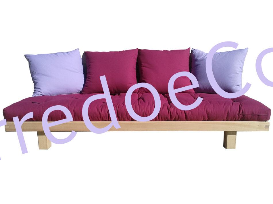 Divano letto wood con futon in legno massello arredo e - Futon divano letto ...