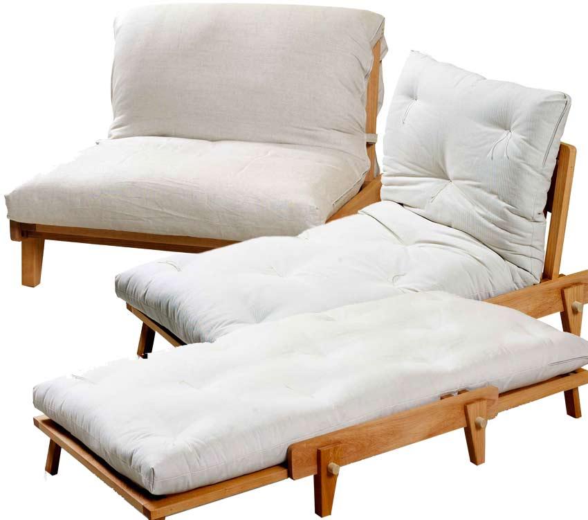 Poltrona letto relax yasumi legno a incastri con futon for Letto futon ikea