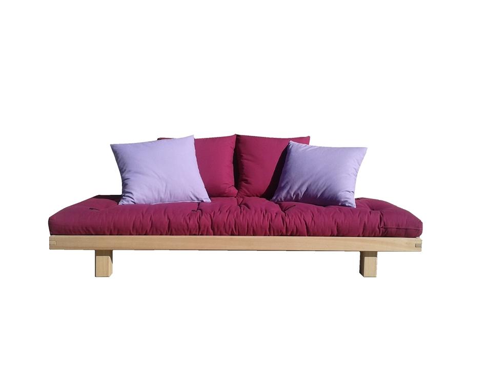 Letto divano wood in legno massello con futon arredo e corredo - Divano letto con doghe in legno ...