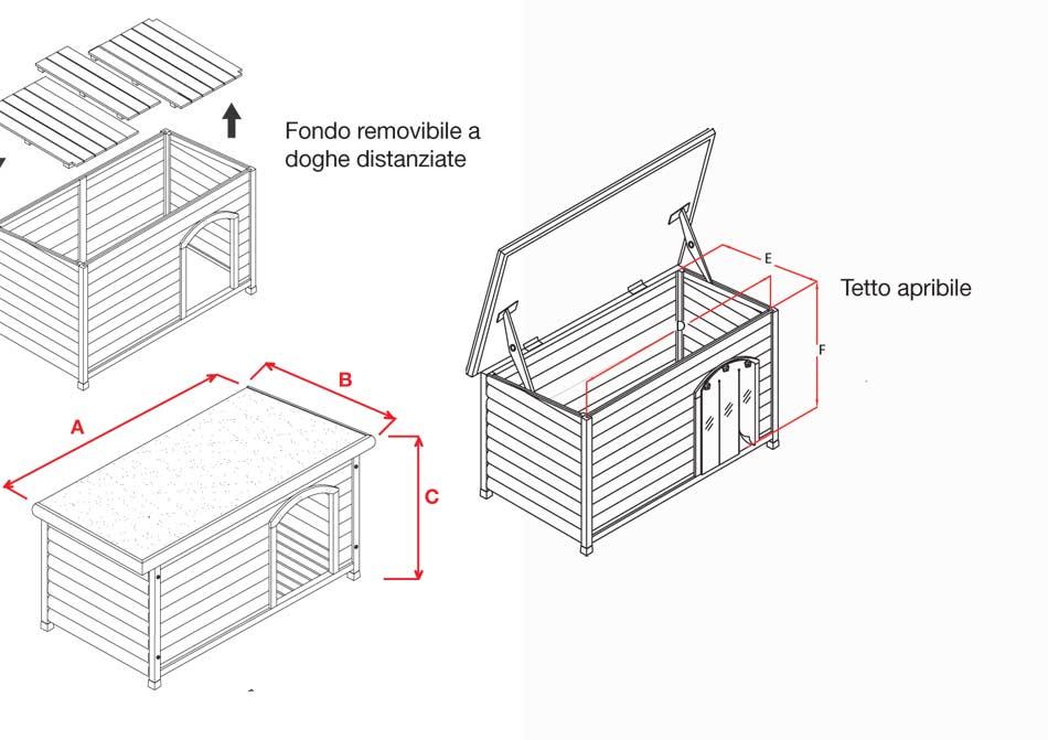Cuccia per cani in legno tetto piano m arredo e corredo for Costruire cuccia per cani coibentata