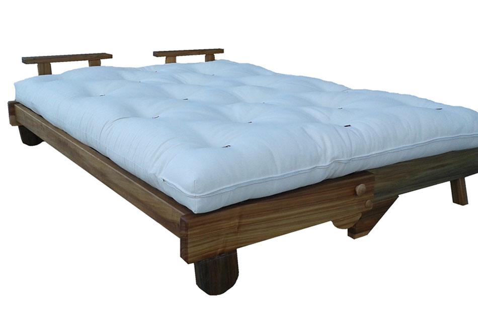 Divano letto in legno con futon nature matrimoniale - Futon divano letto ...