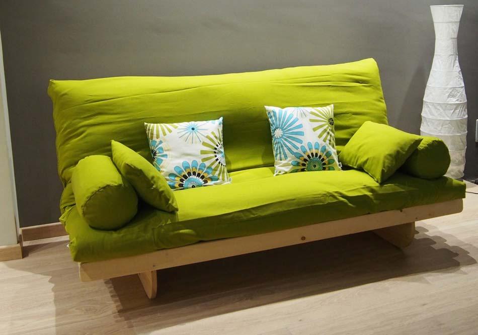 Divano letto in legno con futon summer arredo e corredo for Divano letto futon