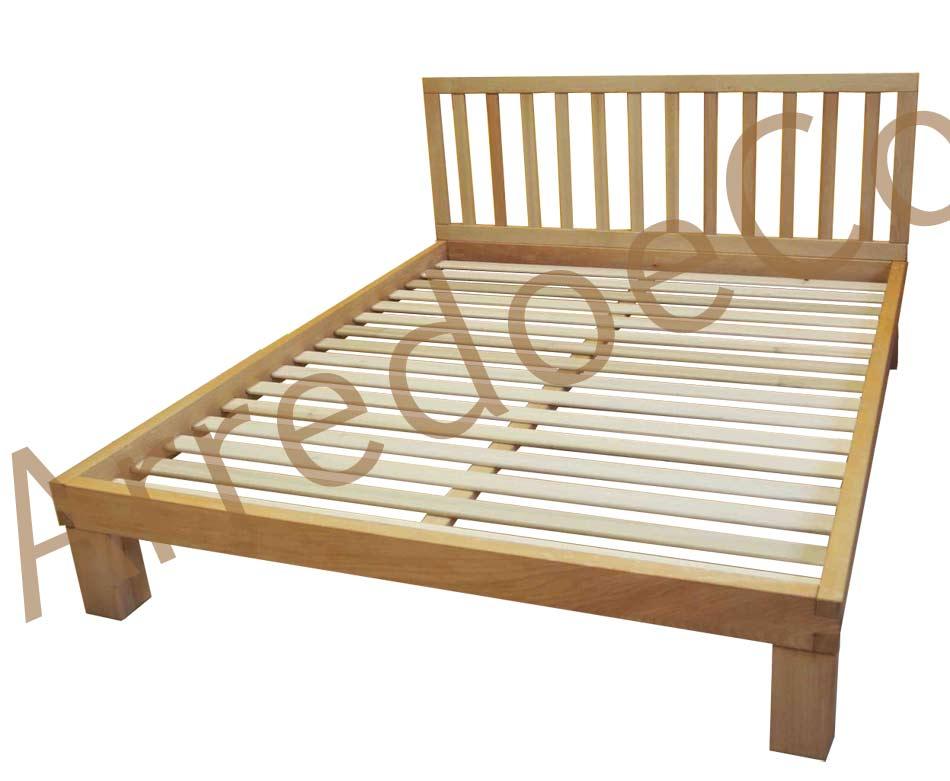 Letto in legno yuki testiera e doghe incluse arredo e - Testiera letto in legno ...