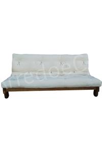 Divano letto in legno con futon nature matrimoniale - Divano letto senza braccioli ...