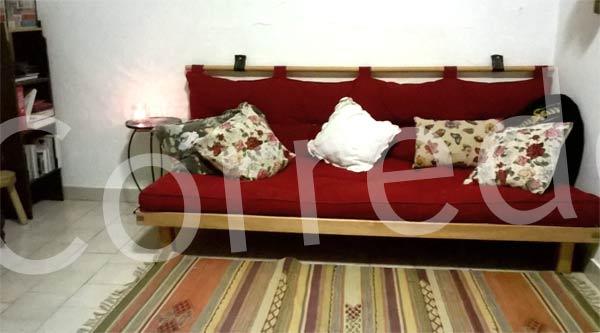 Letto divano wood in legno massello con futon arredo e corredo - Trasformare letto singolo in divano ...